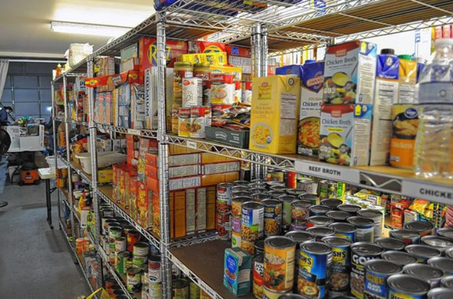 Food on shelves at Hilliard Food Pantry